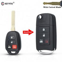 Keyyou Modificeret Flip Folde Fjern Nøgle Skal Til Toyota Reiz Corolla Camry Rav Knap Uncut Skære Nøgle Fob